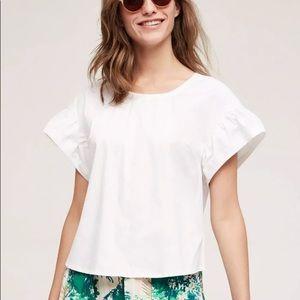 Maeve ruffle sleeve poplin blouse oversized top